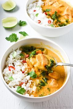 Crock pot Thai chicken curry is one of the easiest meals to make and is so tasty. Curry paste, coconut milk and ginger add a ton of flavour to this healthy, naturally paleo + gluten free dinner.