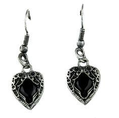 Black Stone Heart Wings Earrings Gothic Jewelry Cosplay