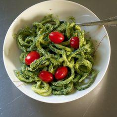 Zucchini Noodles tossed in an Avocado-Cilantro Pesto