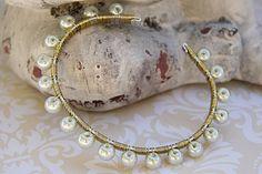 White Pearl Bangle, White and Gold Bracelet, Pearl Beaded Bangle, White and Gold Wrapped Bangle, Pearl Bridal Bracelet