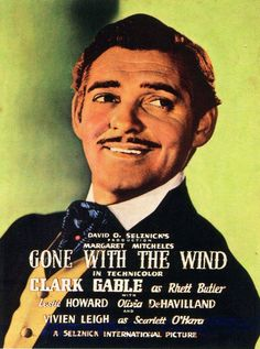 1939 Hand Painted Movie Poster Starring Clark Gable In Gone With The Wind