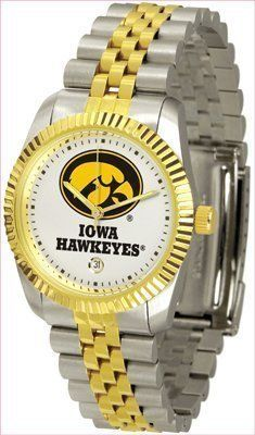 Iowa Hawkeyes Suntime Mens Executive Watch - NCAA College Athletics by SunTime. $139.95. For a more formal look. The Executive features a fluted gold toned bezel and two tone gold overlay and stainless steel link bracelet. Now with Date Calendar feature. Wear it to a game, while watching a game or just to show off your NCAA pride wherever you go!