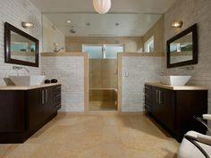 """Here's what Kenneth Brown said about his design: """"This modern bathroom uses texture, shape and balance to create a spa-like experience."""""""