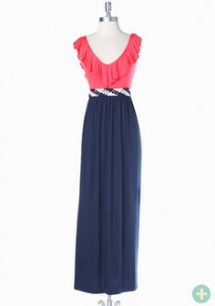 wandering lands maxi dress in coral