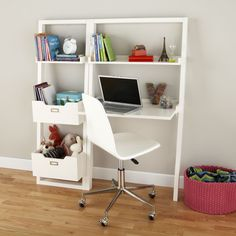 Shop Kids' Desk: Kids White Leaning Wall Desk.  Furniture occasionally needs somebody to lean on, too.  In the case of our Little Sloane Leaning Desk, all it needs is a wall.