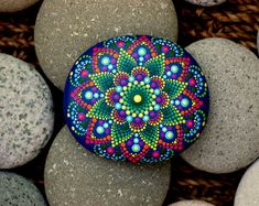 3.2x2.8 inch Hand painted mandala on river rock/mandala stone by Katy