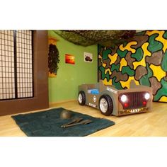 Army Jeep Bed. The Army Jeep bed with LED headlights and matress including in the set.