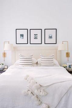 White master bedroom Fancy Loving Lately Alaina Kazs Gorgeous White Bedroom With Black And White Striped Pillows Bedroom Sconces Pinterest 326 Best Master Bedroom Images In 2019 Bedrooms Bedroom Ideas