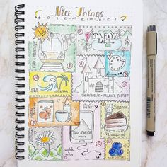 Memories captured in doodles by @torislines. Fun!  #flashbackFriday What's one of your favorite July memories? Ours is mango madness fresh from our tree! . . . @Regrann -  July Memories in bujo style   #regrann