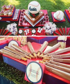 Amazing ideas for a little boy's baseball birthday party! I love the baseball cakepops and chocolate covered pretzel baseball bats.