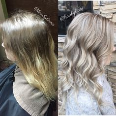 Before and after to bright silver blonde hair. Pretty icy blonde look. Natural highlights. By @hairbyliana at @MODAedmonds