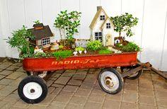 Little red wagon fairy garden! Fun farm scene miniature garden made inside a vintage red wagon!