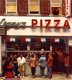 Lennys Pizza in Brooklyn, New York (John Travolta strutted by here in Saturday Night Fever!) this was my favorite pizzeria growing up in the 70's!