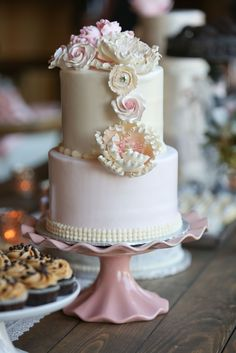 Two-Tiered Cake with Sugar Flowers