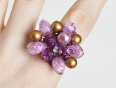 Vintage 60s OOAK Pearl Cluster Cocktail Ring / 1960s Vintage Purple Gold Bead Earring Ring