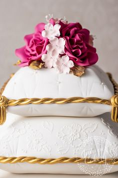 Pink rose and cherry blossom adorned pillow cake by Juniper Cakery Bling Wedding Cakes, Elegant Wedding Cakes, Beautiful Wedding Cakes, Wedding Cake Designs, Beautiful Cakes, Mehndi Cake, Pillow Cakes, Cookies And Cream Cake, Fantasy Cake