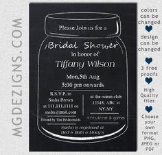 Printable Chalkboard Mason Jar Bridal Shower