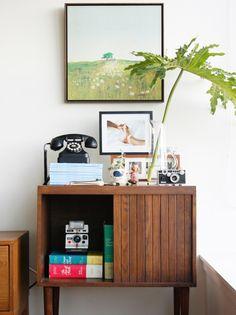 Polaroid Camera | Rotary Phone | Media Cabinet | Antique Cabinet | Atomic Interiors | Retro Design | Colorful Rooms