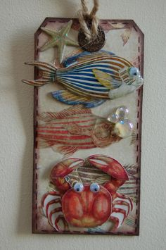 "Handmade ""Under the Sea"" Tags By Jamie Penson www.jamieshappyscrapping@blogspot.com"