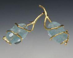 Sam Shaw Jewelry Twig & aquamarine earrings