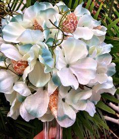 Wedding Seashell Bouquet Bride Hydrangea Bridesmaids by caroledoc, $120.00