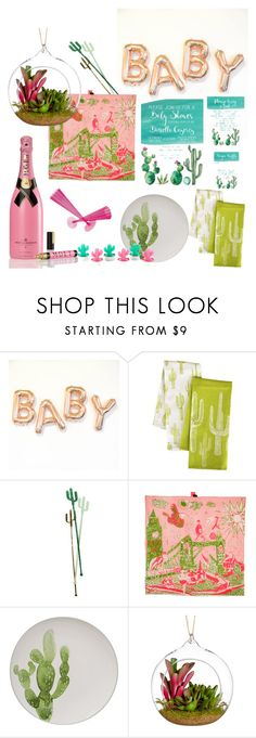 Cactus Baby Shower by natalievmason on Polyvore featuring interior, interiors, interior design, home, home decor, interior decorating, Bloomingville, Arthouse Meath, John Lewis and Sunnylife