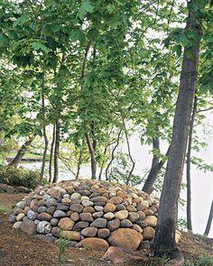 Arranged pile of stones.