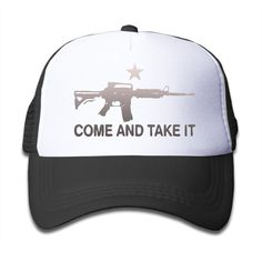 AR-15 Come And Take It Graphic Print Child Mesh Summer Snapback Hat. Climacool Technology Keeps You Cool And Comfortable. Wear The Koloa Surf Trucker Cap With Your Shorts And Tees For Effortless Casual Style!. Coolmax Sweatband Wicks Away Moisture. Seamed Bill. Six-panel Construction. Embroidered Ventilating Grommets. Hook & Loop Strap Closure.