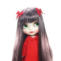 Red Bow Hair Clips Barrettes for Blythe & Pullip Dolls | Brown Eyed Rose
