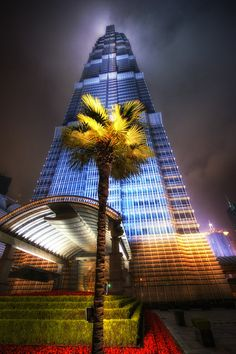 Jin Mao Tower by Night..Shanghai..3rd tallest building in the world. Tallest in China.Golden prosperity building 88 stories tall