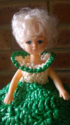 Vintage retro toilet roll holder - Dolly Varden green and white hand crocheted dress over the top of a Cindy doll. Perfect condition for both Toilet Roll Holder Vintage, Shabby Chic Toilet, Dolly Varden, Retro Vintage, Vintage Items, Hand Crochet, Rolls, Etsy Shop, Gypsy