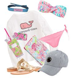 Outfit idea for USIR Finalist Pool Party - Beach day ft lilly pulitzer, sopro, vineyard vines, and jack rogers Preppy Outfits, Summer Outfits, Cute Outfits, Preppy Wardrobe, Preppy Clothes, Preppy Fashion, Comfy Clothes, Fashion Outfits, School Outfits