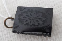 Victorian Whitby Jet pendant or fob in design of a book by vintagebouquets on Etsy