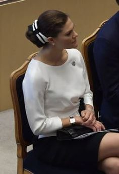 Sep 2018 in Evelina Persson White Silk, Black And White, Princess Victoria Of Sweden, Queen Silvia, Swedish Royals, Silk Crepe, Blouse, Hats, Dresses