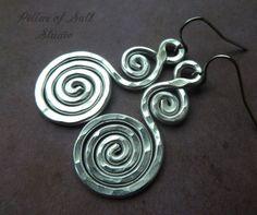 Hammered aluminum earrings silver earrings by PillarOfSaltStudio, $14.00