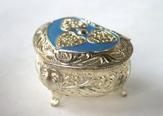 Vintage Heart Shaped Box Silver and Blue Enameled Hinged Lid