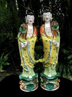 2 Fine Antique Chinese PORCELAIN statues of KWAN YIN Guan by ZeART, $550.00