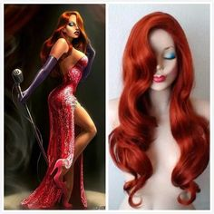 Tengs Jessica Rabbit Long Wavy Copper Red wig Costume Cosplay Set (Wig Gloves Props Cigarette holder): Amazon.co.uk: Toys & Games