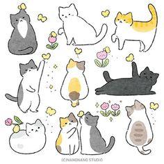 Cute Cat Drawing, Cute Little Drawings, Cute Kawaii Drawings, Cute Animal Drawings, Easy Drawings, Cat Doodle, Doodle Art, Kawaii Illustration, Kawaii Doodles