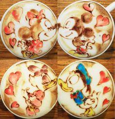 Mickey Minnie, Donald Daisy Cappuccino Art!