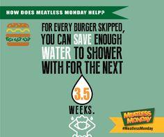 #MeatlessMonday Skip a burger = #SaveWater -- #vegan #vegetarian