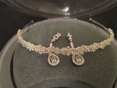 For Sale Now at Our Ebay Store for Only $79.99!  David's Bridal Rhinestone Tiara w' Swarovski Crystals $100 MSRP Worn Once + Matching Earrings also $100 Retail.