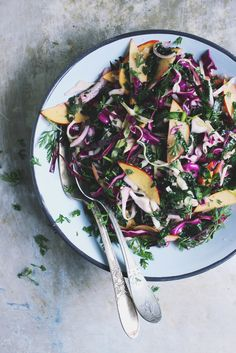 Kale salad with Cabbage, Nectarines, Fresh Herbs, and Lime Dressing