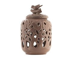 Jarrón de cerámica Pájaro, marrón - bajo