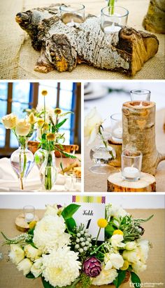 San Diego Wedding Photographers: Mountain themed wedding with wood tree trunk centerpieces and candle holders. Unique flowers with Billy Balls Wedding Save The Dates, Our Wedding, Destination Wedding, Wedding Ideas, Spring Wedding, Rustic Wedding, Wedding Stuff, Tree Wedding Centerpieces, Wedding Reception Decorations