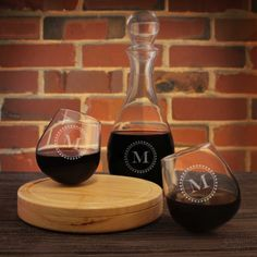 Rocking Glasses Engraved with Choice of Monogram Design Options & Font Selection (Each - Decanter Purchased Seperately) by DesignstheLimit #TrendingEtsy