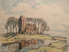 Arnold heeft honderden kleine tekeningen gemaakt met kleurpotlood. Hier de Martinuskerk in Marsum bij Appingedam. Ik vind een aantal van deze schetsjes tot het mooiste behoren van wat hij gemaakt heeft.