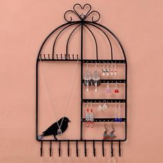 Black Pink White Bird Cages Hanging Box Multi-purpose Metal Earrings Jewelry Display Hanging Stand Holder Show