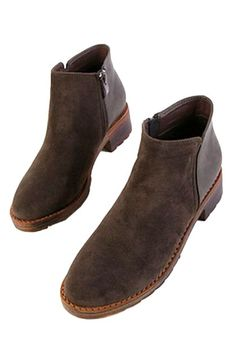 Coffee Suetedde Ankle Boots With PU Paneled
