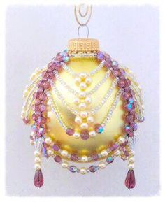 Instant PDF Download Tutorial:  Alice -  Amethyst & Pearl Beaded Christmas Ornament Cover 3 at Bead-Patterns.com